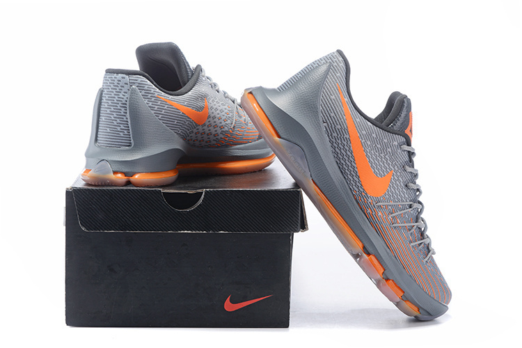 2016 Nike KD8 Grey Orange Sneaker For Sale