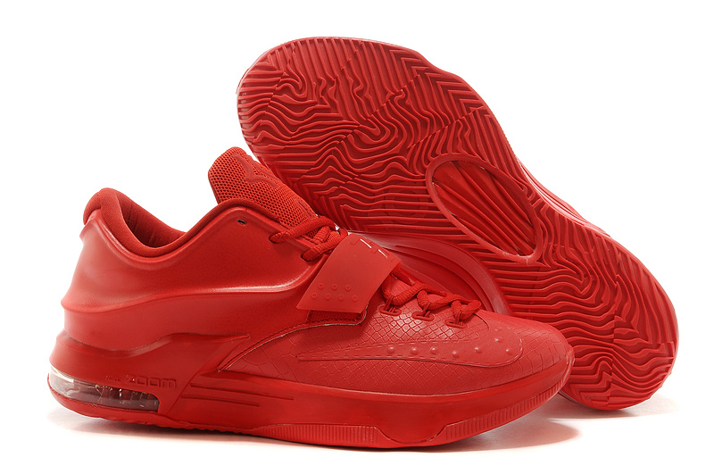 New Nike Kevin Durant 7 Original All Red Snakeskin Shoes
