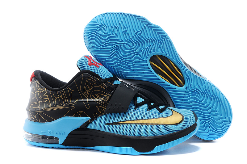 New Nike Kevin Durant 7 Original Black Blue Gold Shoes
