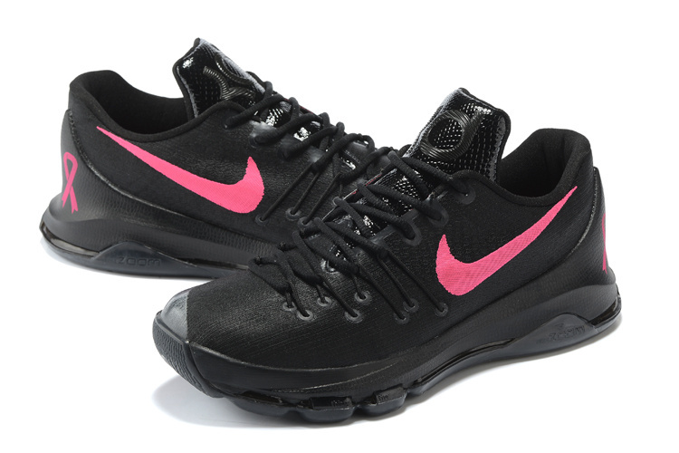 Latest Nike KD 8 All Black Red Swoosh Sneaker For Sale
