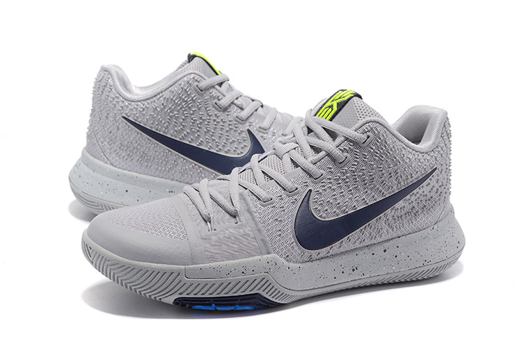 New Nike Kyrie 3 Grey Dark Blue Shoes