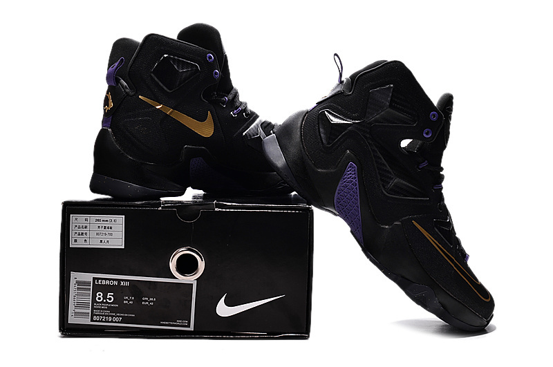 2016 Nike Lebron 13 Black Purple Gold Sneaker For Sale