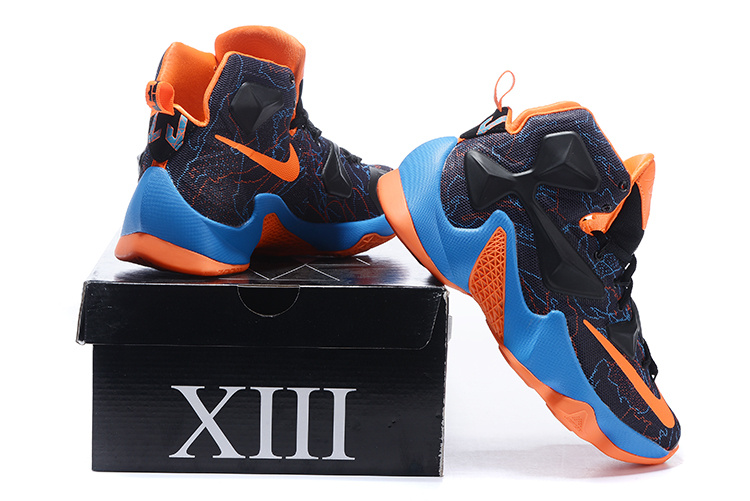 2016 Nike Lebron 13 Black Orange Blue Sneaker