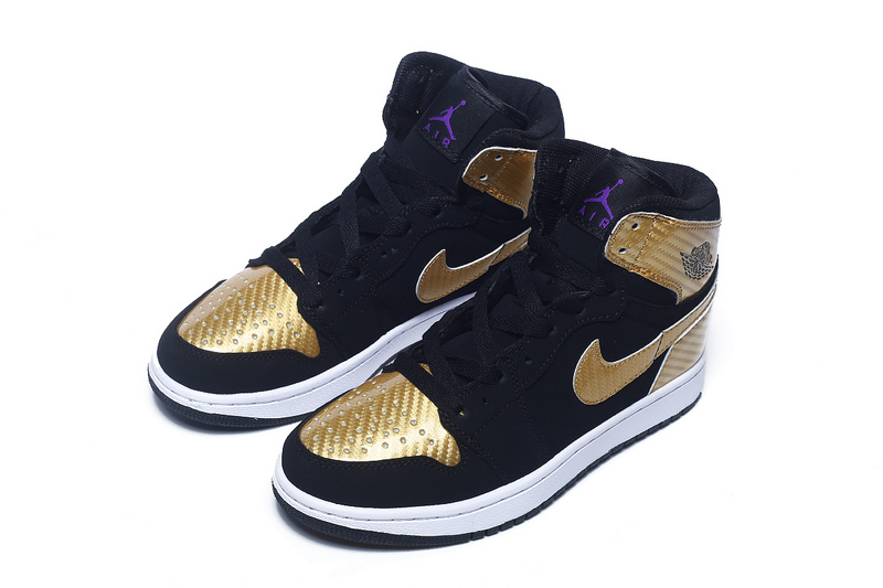 Nike Women Air Jordan 1 Retro Black Gold Sneaker