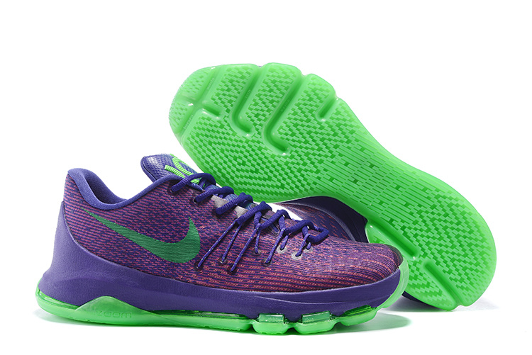 Newest Brand Quality Of Nike KD 8 Suit Purple Green Strike Vivid Purple Bright Crimson Shoes On Sale