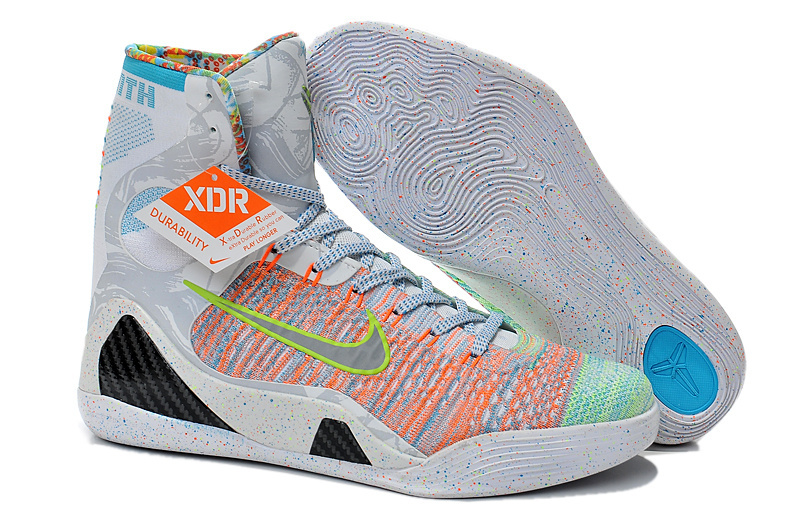 Newest Nike Kobe 9 Original High Rainbow Grey Shoes
