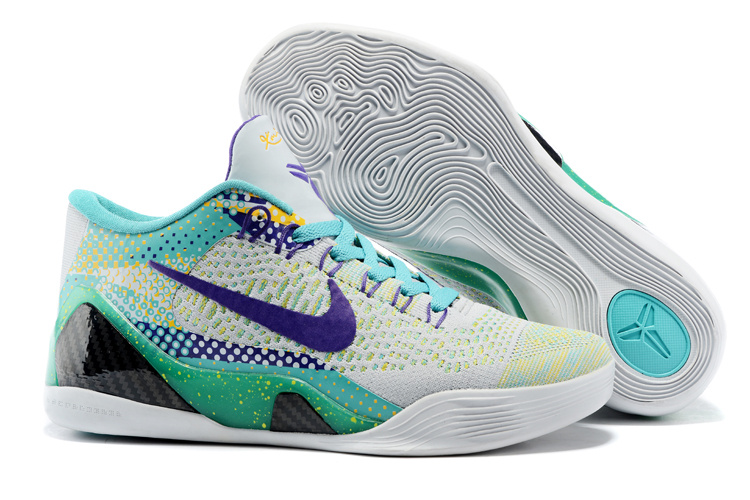Newest Nike Kobe Bryant 9 Low Knit Original Grey Green Blue Shoes