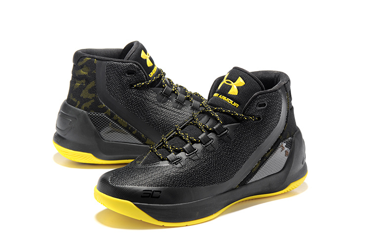 Newly UA Curry 3 Black Yellow Basketball Shoes