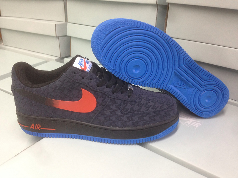Nike Air Force 1 Low Grey Blue Sole Red Swoosh Sneaker