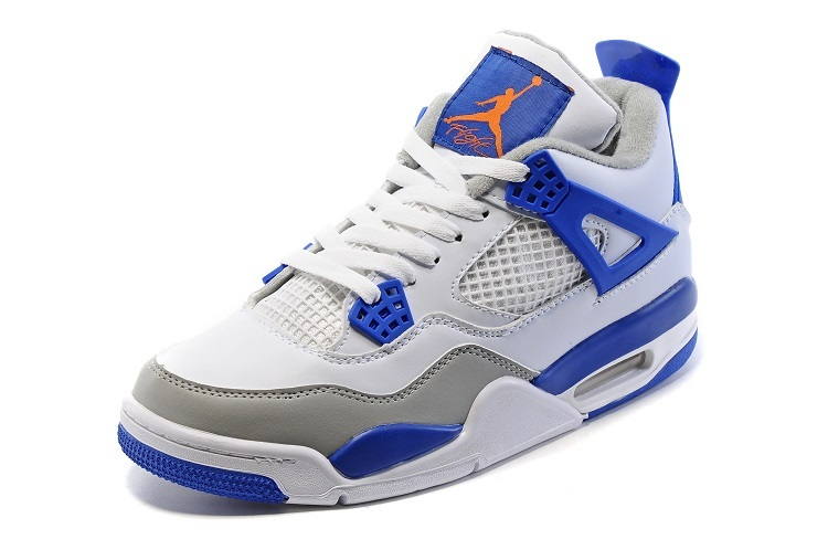 Nike Air Jordan 4 Retro White Blue Grey Shoes