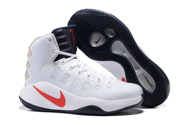 Nike Hyperdunk 2016 High White Light Blue Red Swoosh Olympic Basketball Shoes