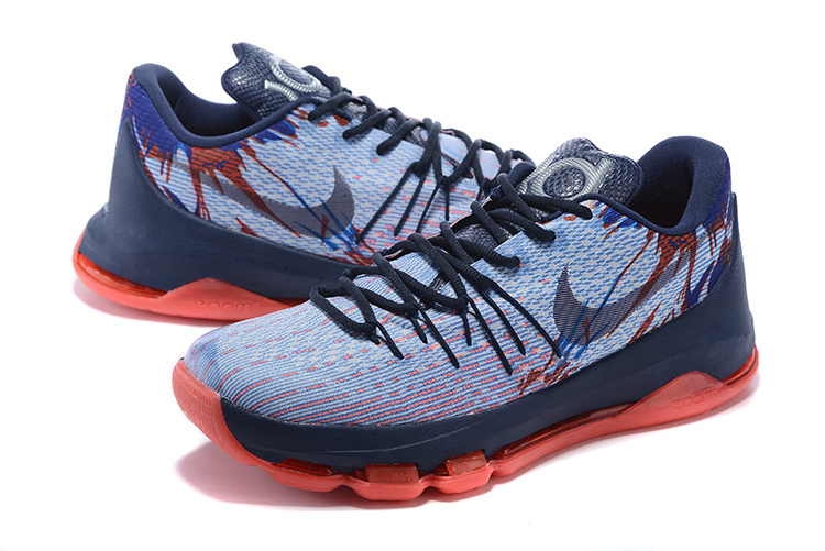 Nike KD 8 Dark Blue Red Basketball Shoes