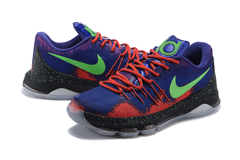 Nike KD 8 Purple Blue Green Basketball Shoes