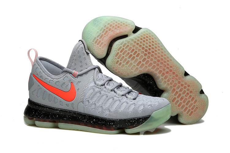 Nike KD 9 Grey Black Fluorescent red Shoes