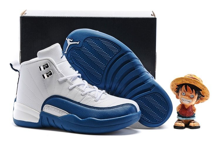 Nike Kids Air Jordan 12 White Frech Blue Shoes