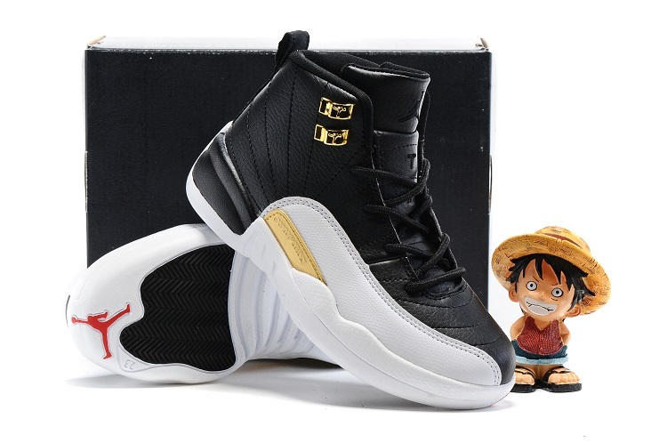 Nike Kids Air Jordan 12 Wings White Black Gold Shoes