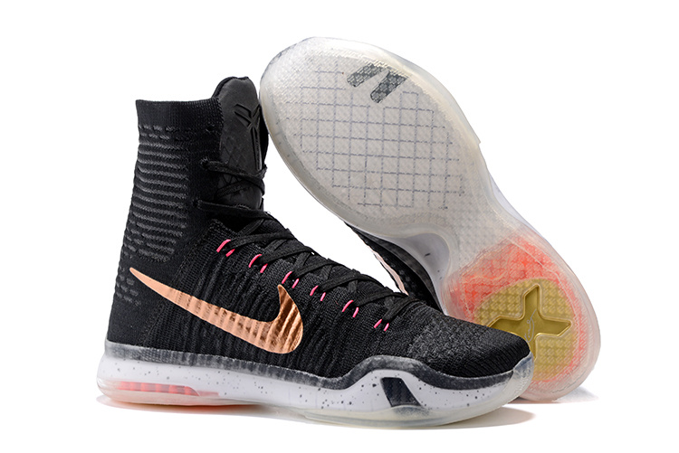 Nike Kobe 10 High Black Golden Basketball Shoes
