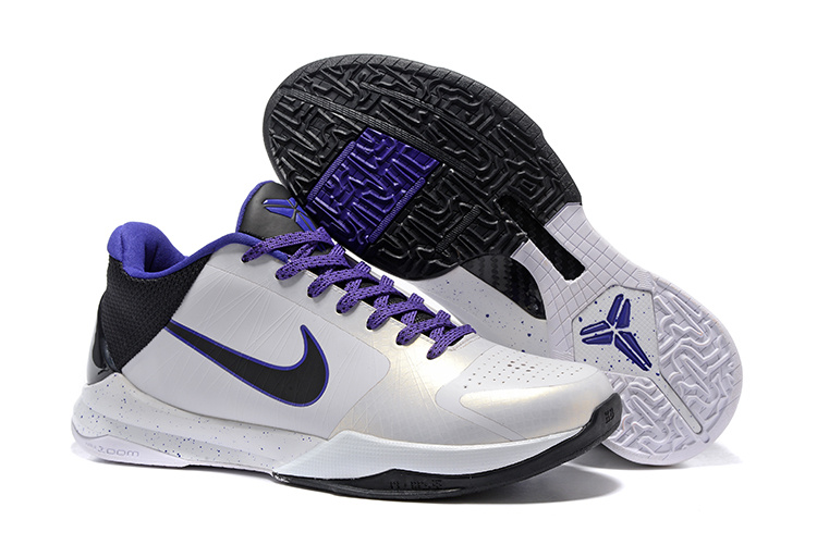 Nike Kobe 5 White Black Purple Shoes