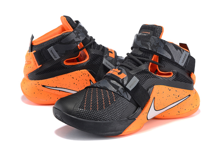 Nike LeBron Soldier 9 Black Orange Red Basketball Shoes