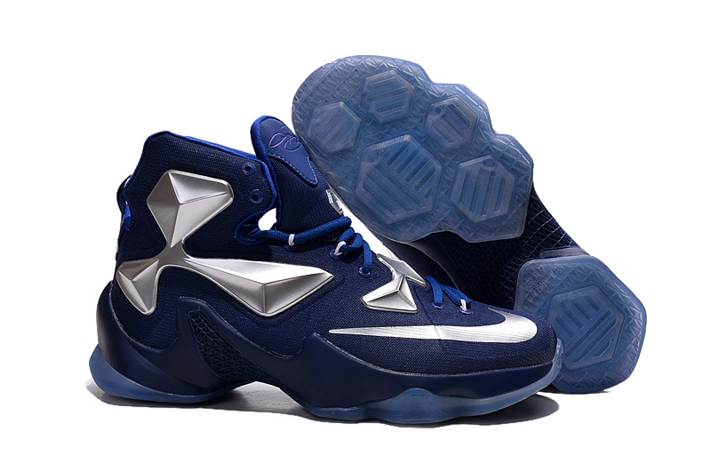 Nike Lebron New Style Shoes Lebron 13 Distance Blue Metallic Silver White Shoes On Sale