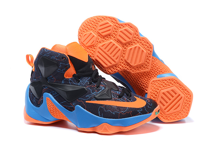 Nike Lebron Sheos New Lebron 13 Black Sky Blue Orange Shoes On Sale