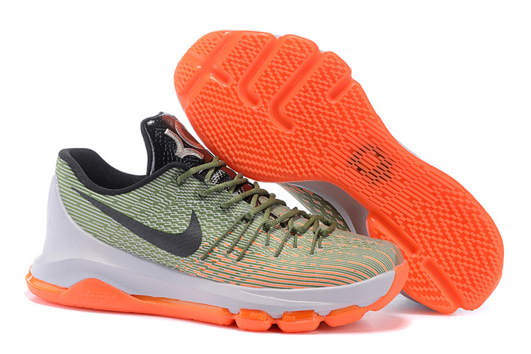 Nike Newly Nike KD 8 Easy Euro Lunar Grey Squadron Green Alligator Bright Citrus Shoes On Sale
