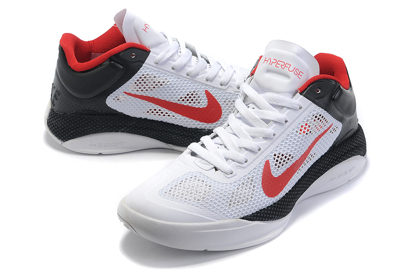 Nike Zoom Hyperfusel Low White Black Red Basketball Shoes