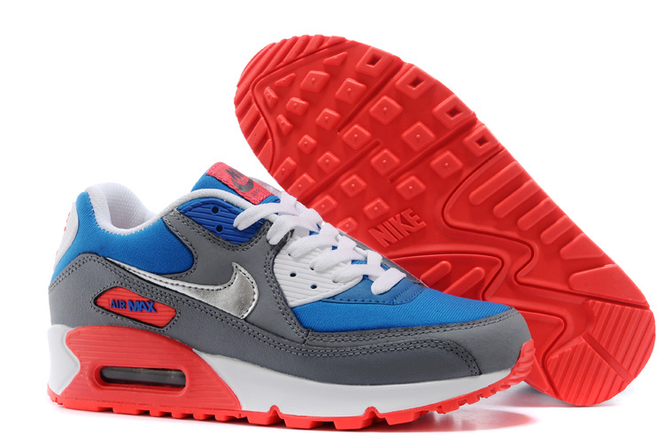 Nike Air Max 90 Grey Nlue White Red Runnings