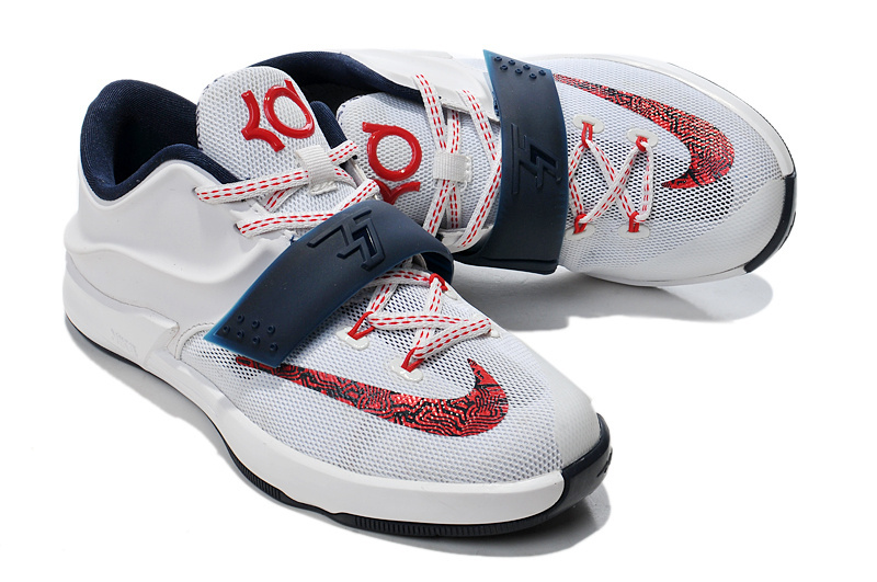 Nike KD 7 Classic White Red Blue For Kids