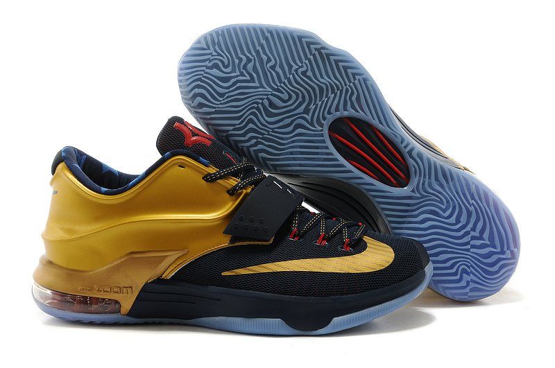 Nike KD 7 Newest Black Gold Red Basketball Shoes