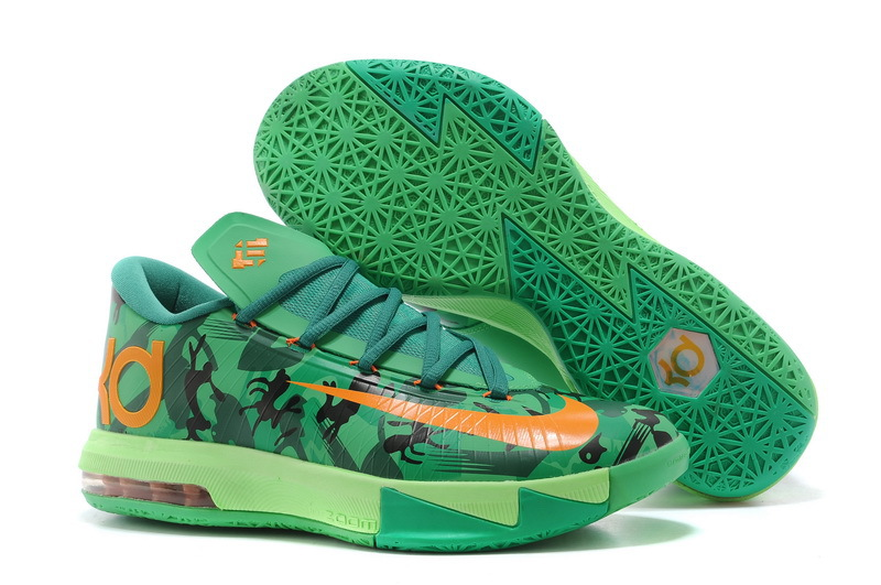 Nike Kevin Durant 6 Original Green Orange Basketball Shoes