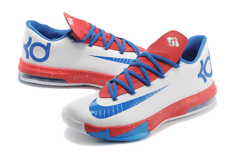 Nike Kevin Durant 6 Original White Blue Red Shoes