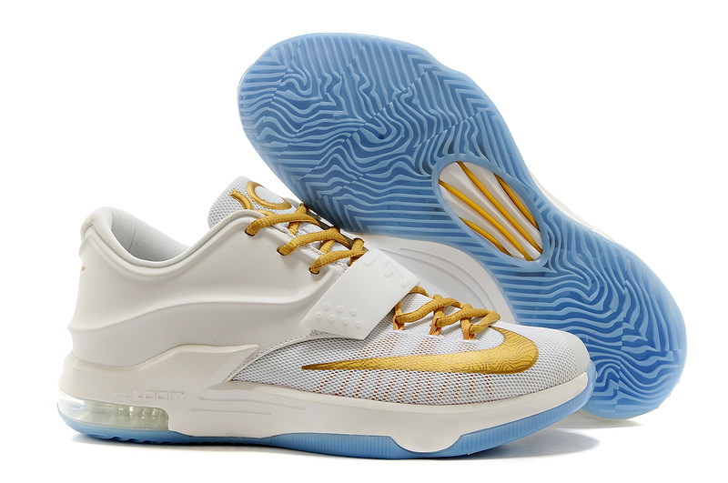 Nike Kevin Durant 7 Original White Gold Baby Blue Basketball Shoes