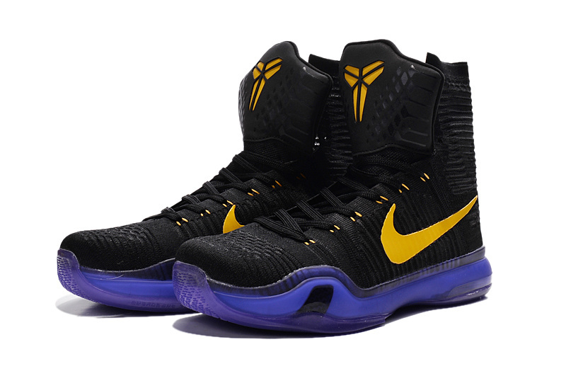 New Nike Kobe 10 High Black Purple Yellow Shoes