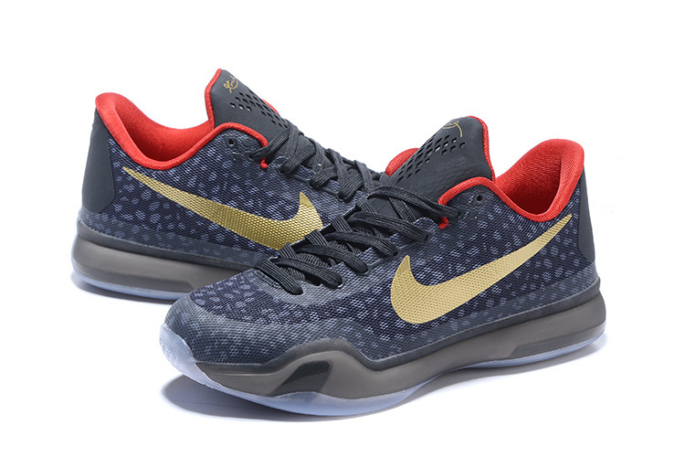 Newest Nike Kobe 10 Stone Stripe Dark Blue Gold Basketball Shoes