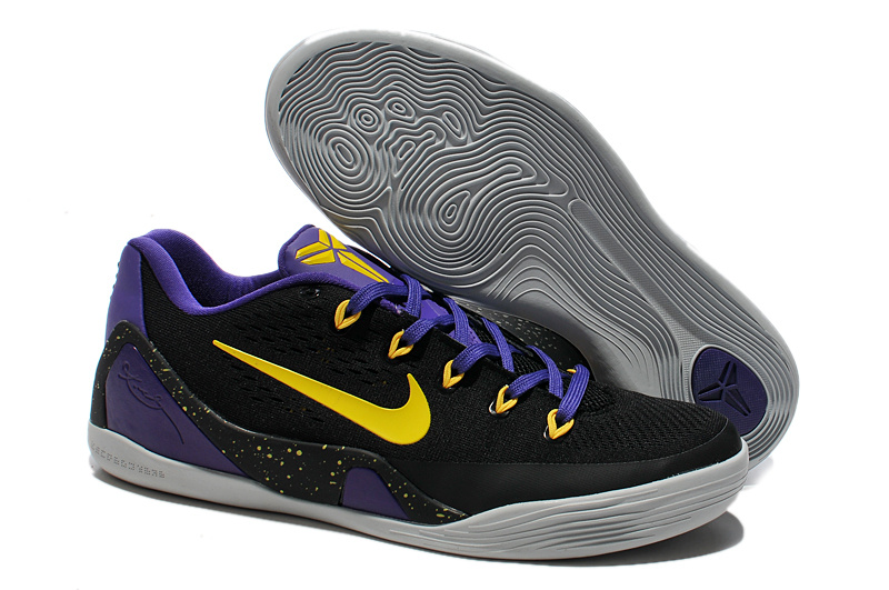 Nike Kobe 9 Low Original Black Yellow Purple Basketball Shoes