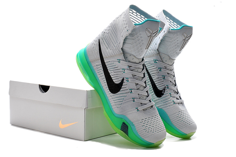 Nike Kobe 10 High Grey Green Black Shoes
