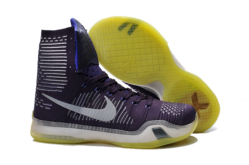 Nike Kobe 10 High Purple White Yellow Shoes