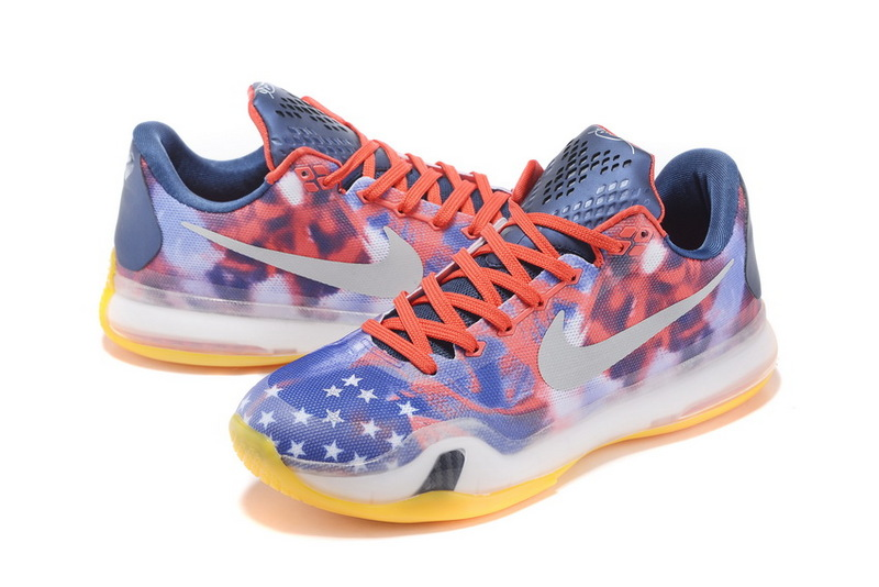 New Nike Kobe 10 Low Indepent Day Red Blue Yellow Shoes
