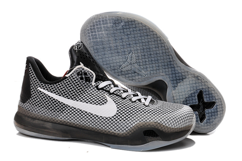 Nike Kobe 10 Panda Grey Black White Swoosh Shoes