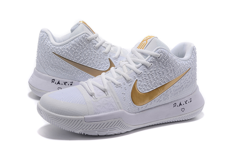 Nike Kyrie 3 White Gloden Basketball Shoes