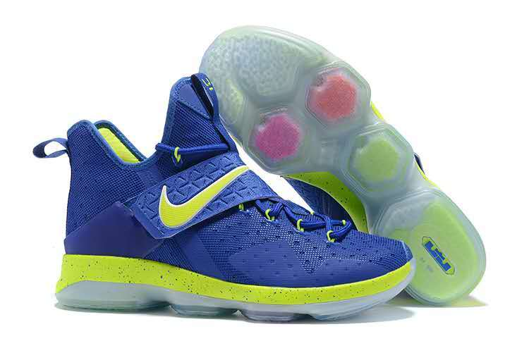 Nike Lebron 14 Jade Blue Fluorescent Green Shoes