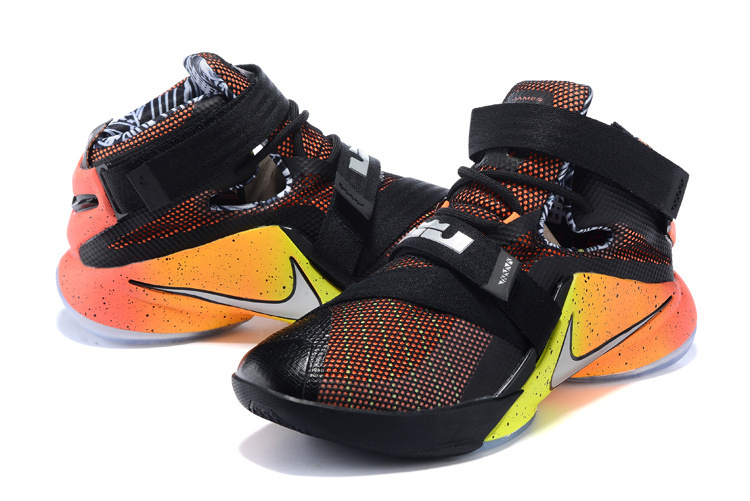 New Nike Lebron Soldier 9 Black Yellow Orange Sneaker For Sale