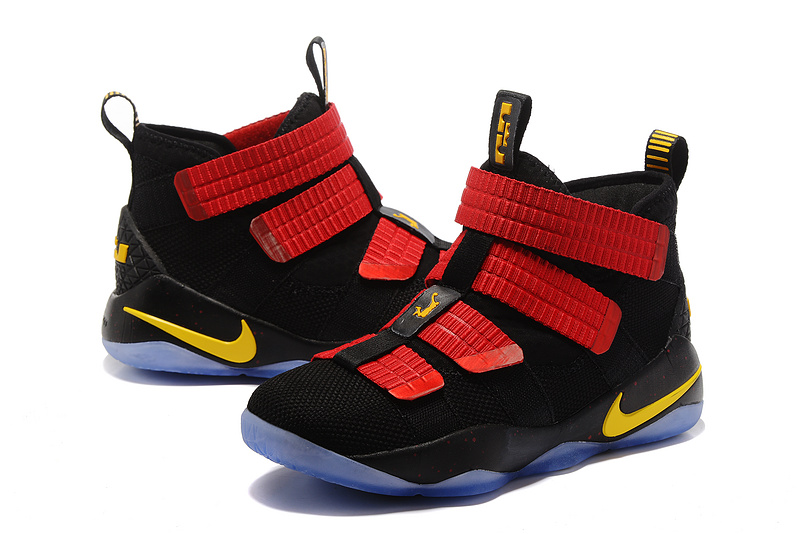 Nike Lebron Solider 11 Black Dark Red Yellow Shoes