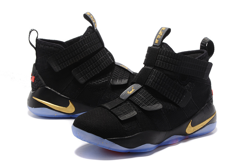 Nike Lebron Solider 11 Black Red Gloden Shoes