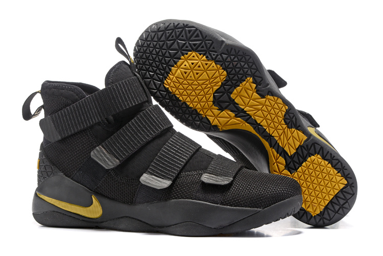 Nike Lebron Solider 11 Black Yellow Gloden SHoes