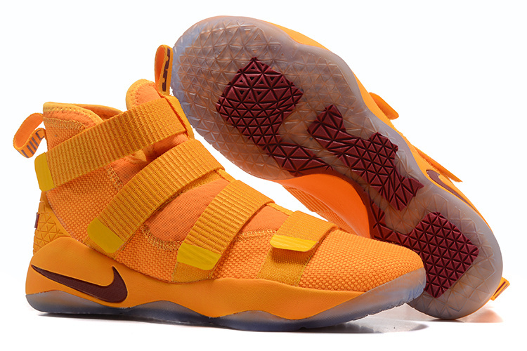 Nike Lebron Solider 11 Yellow Wine Red Shoes
