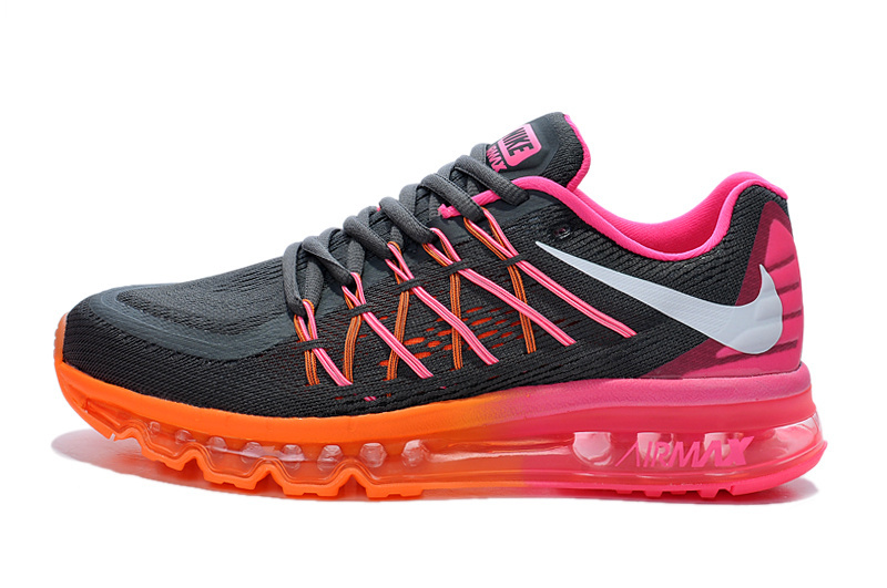 Nike Women Air Max 2015 Black Dark Orange Red Shoes