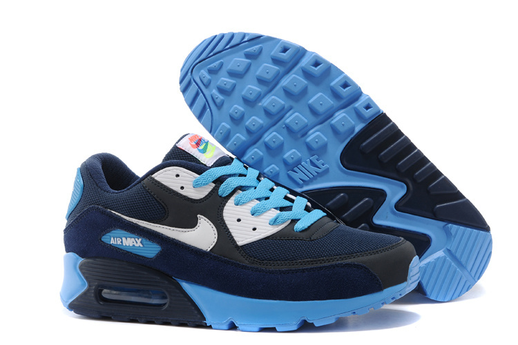 Nike Women Air Max 90 Blue Black Running Shoes