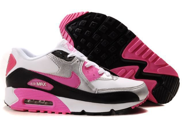 Nike Women Air Max 90 Grey Pink Black White Running Shoes